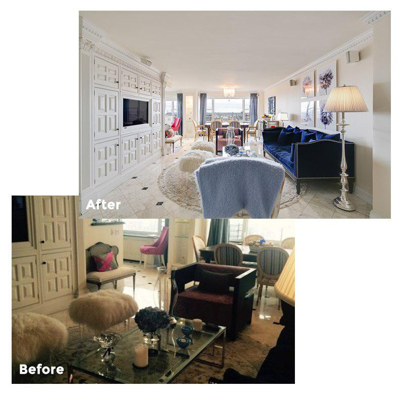 Illustrates the differences between amateur photography and professional photography. Shows a living room before and after professional photography.
