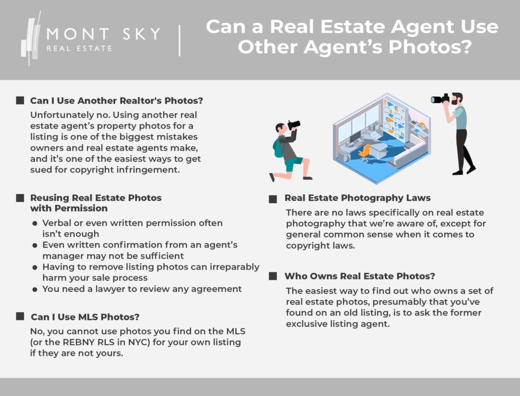 Infographic illustrating the reasons why a real estate agent cannot simply use another agent's photos.