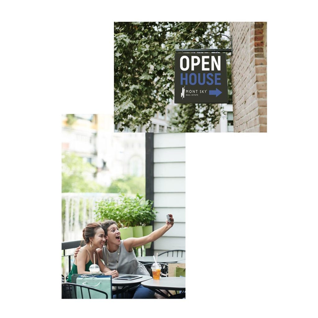 Photos of a Mont Sky open house sign along with a couple of happy customers taking a selfie.