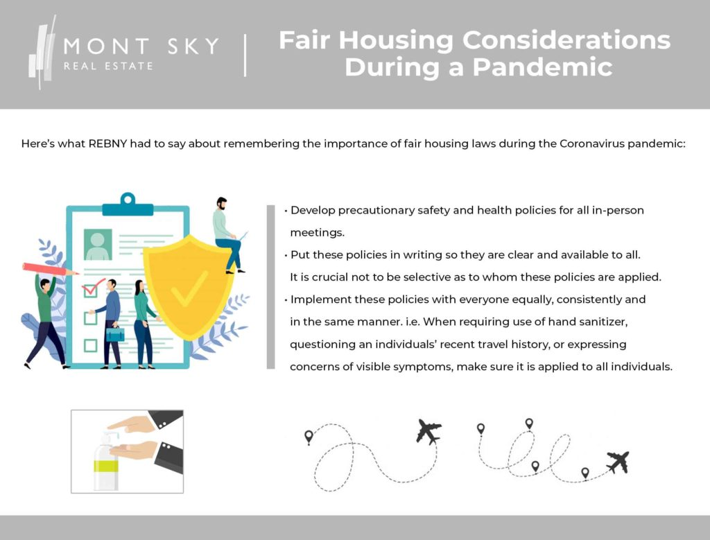 Infographic with tips from REBNY on how to adhere to fair housing laws and guidelines during a pandemic.
