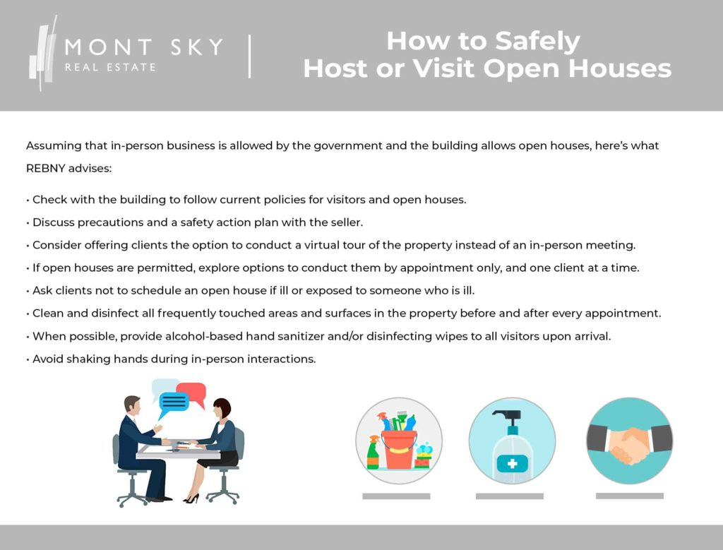 Infographic illustrating tips from REBNY on how real estate agents and sellers can safely host an open house, and how buyers and renters can safely visit open houses presuming that a shutdown is not in place.